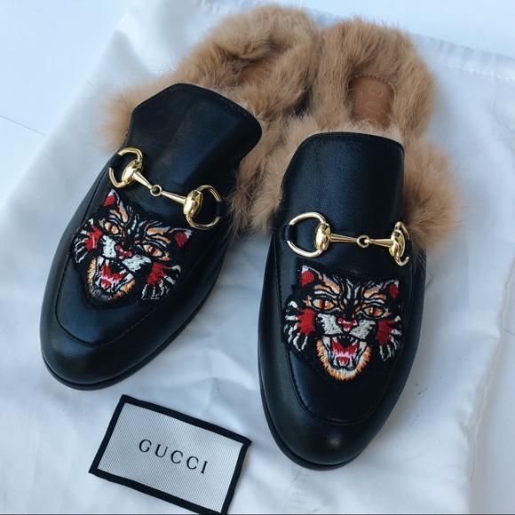 de504e761 Gucci Shoes   Princetown Angry Cat Black Slides   Poshmark